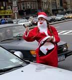 Flashin Traffic - Offering assistance to passing motorists at NYC SantaCon 2001