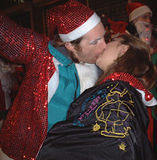 Santa smooches2 - NYC SantaCon, 2002