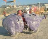 Art Car- Pig Mobile - Burning Man 2001.  To edit record e-mail Editor@CostumeNetwork.com.